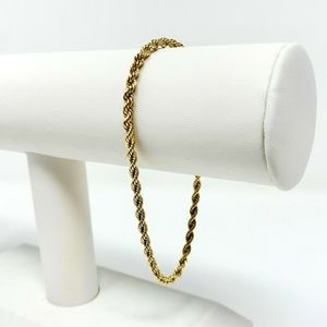 Jewelry - 14k Solid Yellow Gold 3mm Rope Chain Bracelet 8""